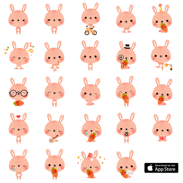 PINK BUNNY RABBIT STICKERS FOR IMESSAGE